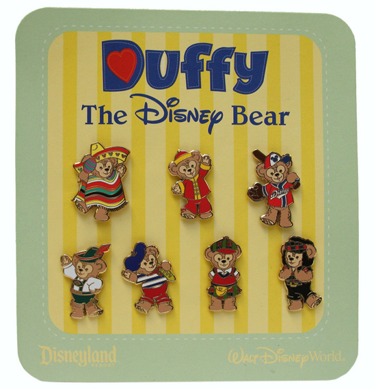 Duffy the Disney Bear Pin Set Inspired by the World Showcase Pavilions at Epcot