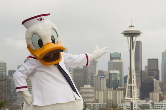 Donald Duck visits Seattle to help announce new Disney Cruise Line itineraries for 2012.