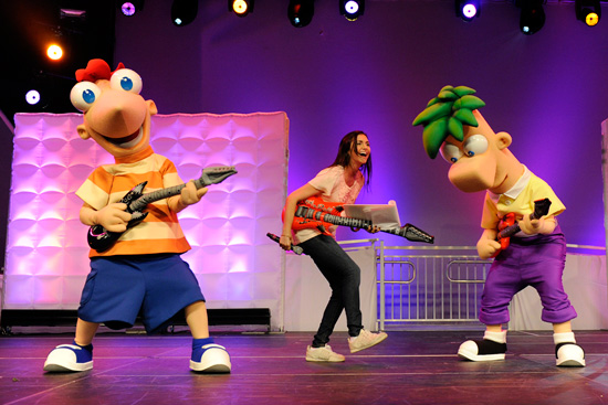 Phineas and Ferb with Disney Channel Star Alyson Stoner at the Recent Disney Magic of Healthy Living Event at Epcot