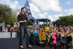 (MAY 30, 2011): Newly crowned 'American Idol' Scotty McCreery performs his new single 'I Love You This Big' May 30, 2011, in front of 'The American Idol Experience' attraction at Disney's Hollywood Studios in Lake Buena Vista, Fla. McCreery was honored in a parade at the Disney theme park. On Wednesday, the 17-year-old singer was crowned the new 'American Idol' on the season finale which was viewed by an estimated 29.3 million people. (Gene Duncan, photographer)