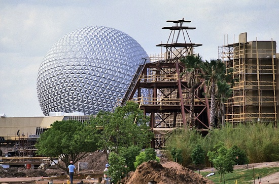 Construction on the Mexico Pavilion at Epcot, April 1982
