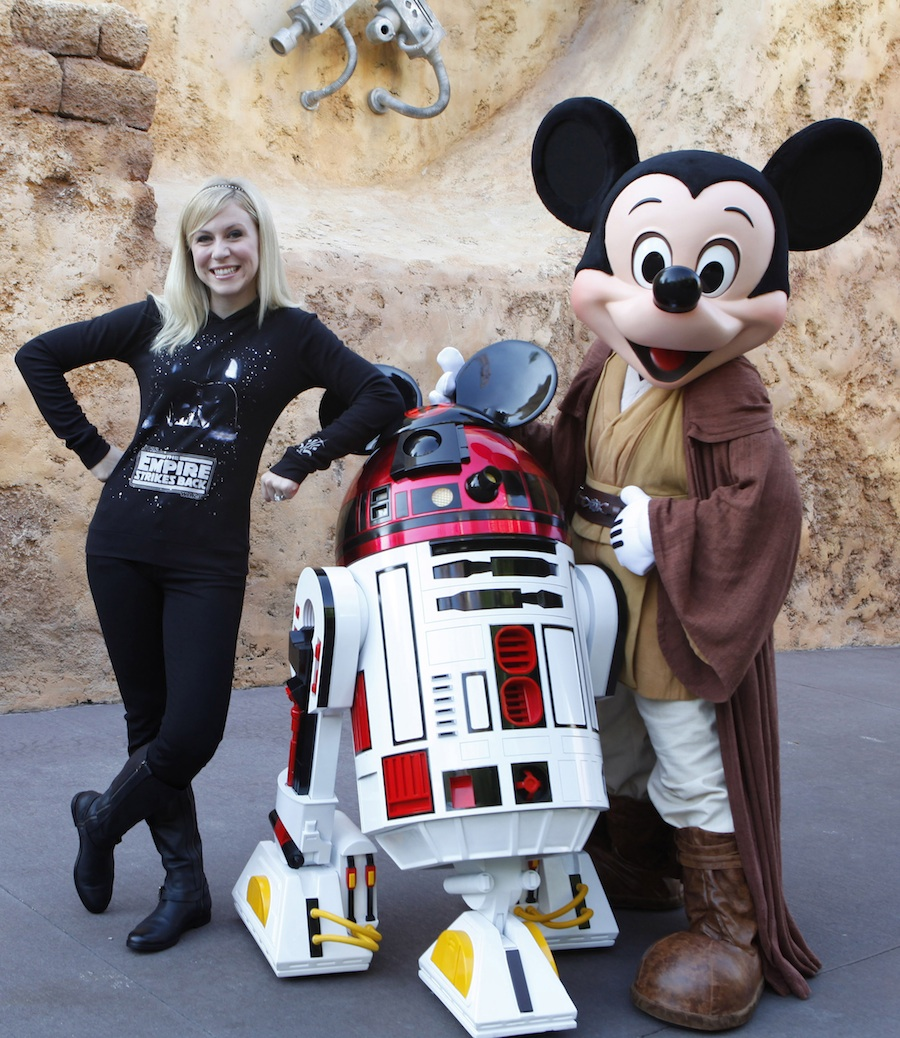 Ashley Eckstein, R2-MK and Jedi Mickey Mouse