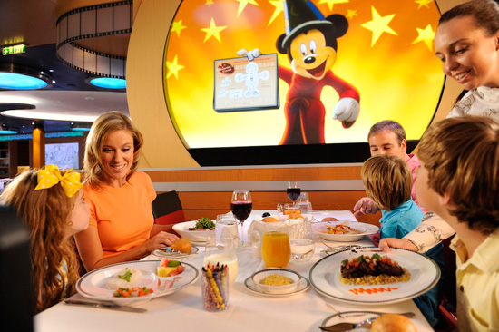 "During ""Animation Magic"" on the Disney Fantasy, Mickey Mouse stops by guests' tables to surprise them by making their drawings come to life."