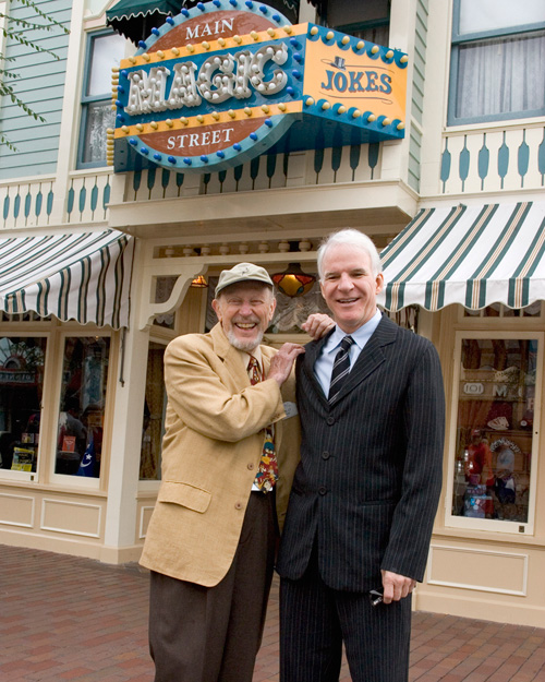Wally Boag and Steve Martin on Main Street, U.S.A., at Disneyland Park, September 2005