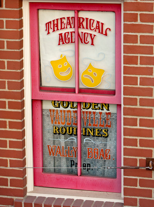 Wally Boags Window on Main Street, U.S.A., above the Blue Ribbon Bakery at Disneyland Park
