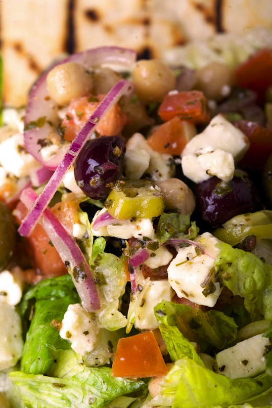 A Classic Greek Salad with Grilled Pita