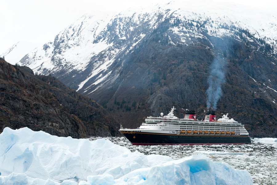 Disney Wonder Cruises Through Tracy Arm Fjord During