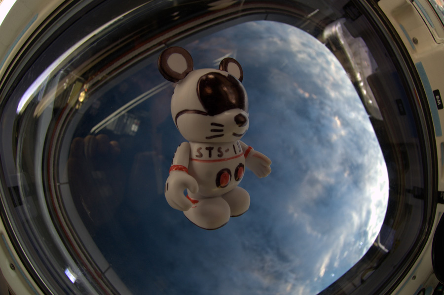 The 'Create-Your-Own' Vinylmation, with artwork created by the astronauts aboard STS-132, floats inside Space Shuttle Atlantis.