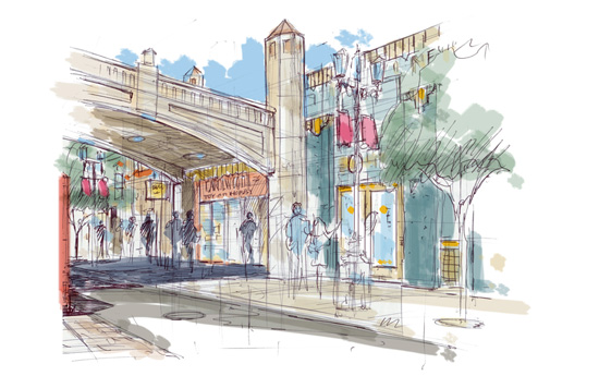 Artist Rendering of the New Buena Vista Street Area at Disney California Adventure Park