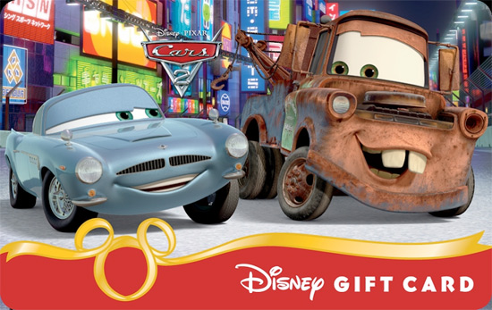 'Cars 2' Mater & Finn Secret Mission Disney Gift Card