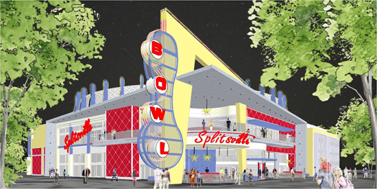 Artist Rendering of Splitsville Coming to Downtown Disney