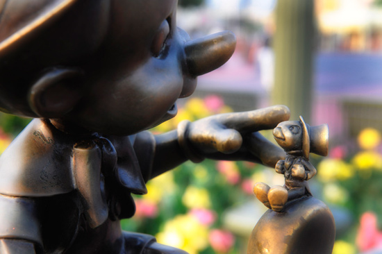 Jiminy Cricket and Pinocchio at Magic Kingdom Park