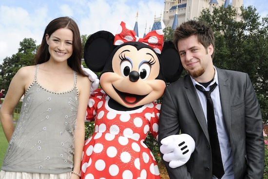 'American Idol' Season Nine Champion Lee DeWyze (right), and his Girlfriend, Actress Jonna Walsh (left), with Minnie Mouse