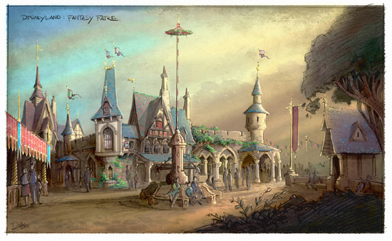 Rendering of new Fantasy Faire Experience Coming to Disneyland Park