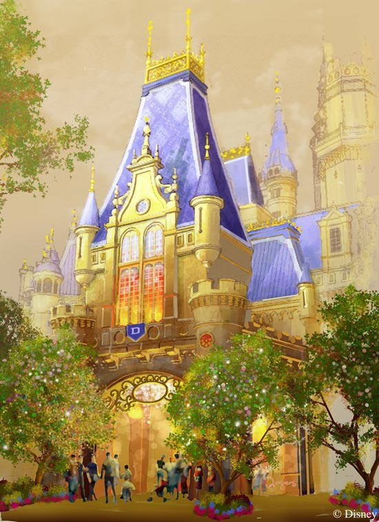 An ornate archway provides a grand entry into Enchanted Storybook Castle, the inspirational icon of Shanghai Disneyland.  Its soaring spires make this the largest Disney castle ever built.