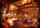 The interior of Gaston's Pub will be themed after the one featured in the film  a hunting lodge full of antlers.