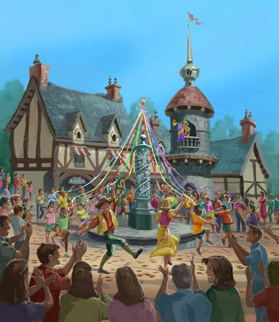 Rendering of the Royal Ribbon Festival at Fantasy Faire