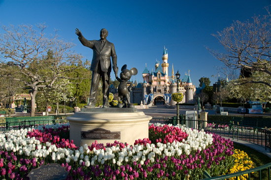Walt Disney and Mickey Mouse Statue at Disneyland Resort