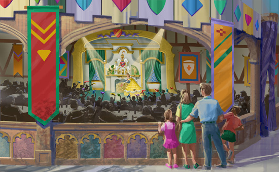 Rendering of New Beauty and the Beast Stage at Fantasy Faire