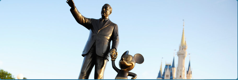 Walt Disney and Mickey Statue at Cinderella Castle