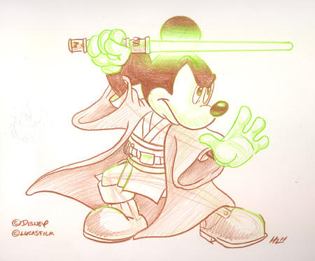 Jedi Mickey Artist Sketch at Disneyland Resort