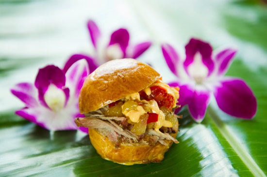 Kalua Pork Sliders with Sweet and Sour Dole Pineapple Chutney at Epcot International Food & Wine Festival