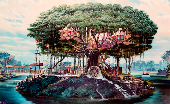 Early Artist Rendering of Swiss Family Treehouse at Magic Kingdom Park