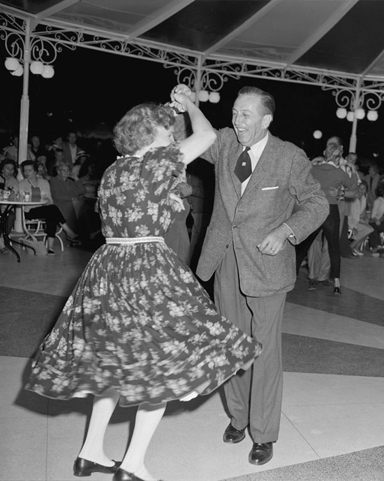1958 Photo: Walt Disney Dances The Night Away at Disneyland Park