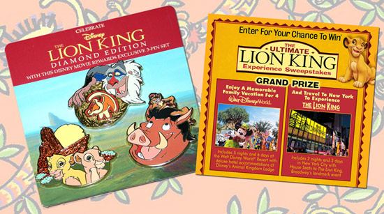 The Lion King Pin Set from Disney Movie Rewards