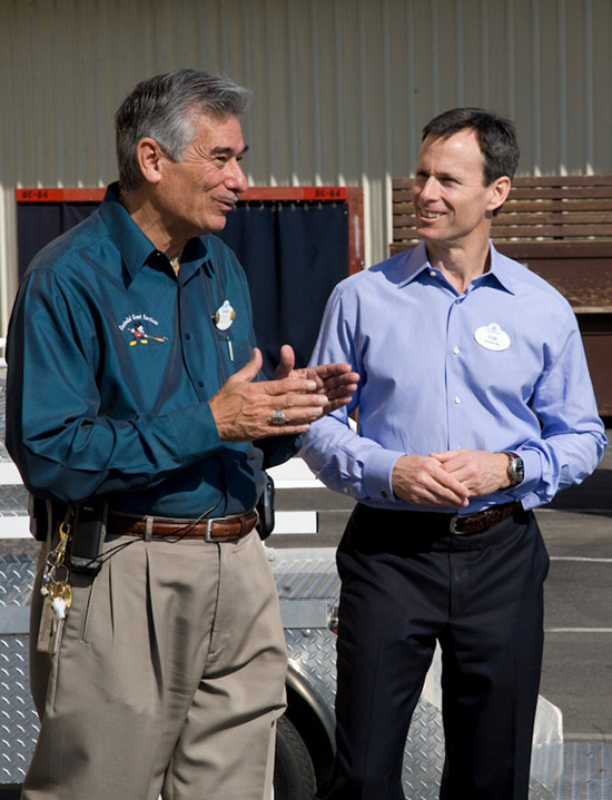 Retired Disneyland Resort Cast Member Ray Sidejas with Walt Disney Parks and Resorts Chairman Tom Staggs