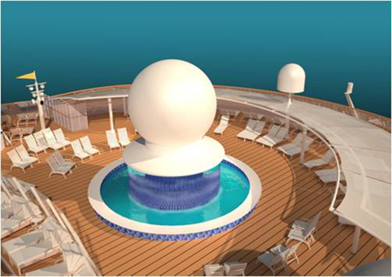 New Circular Splash Pool, Satellite Falls, on Deck 13 of the Disney Fantasy