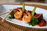 From the `AMA`AMA dinner menu, seared ahi tuna and shrimp.