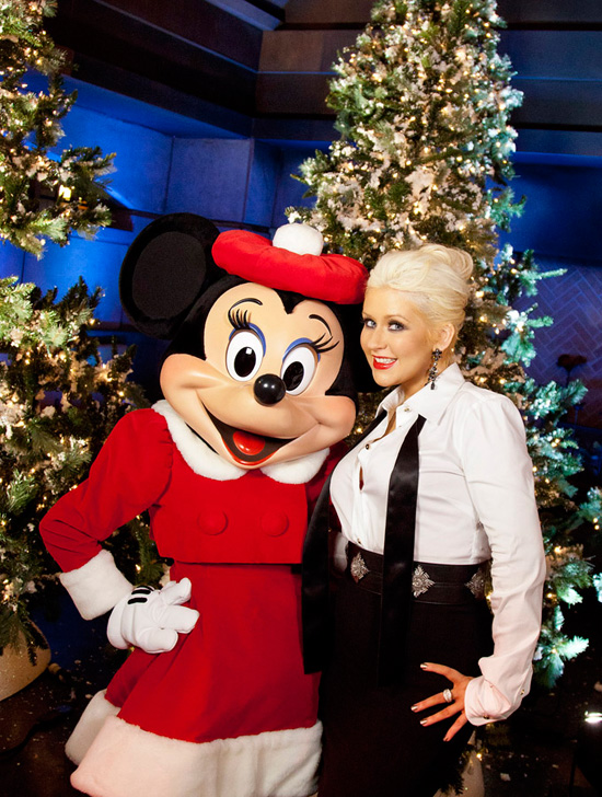 Christina Aguilera and Minnie Mouse at Disney's Grand Californian Resort & Spa