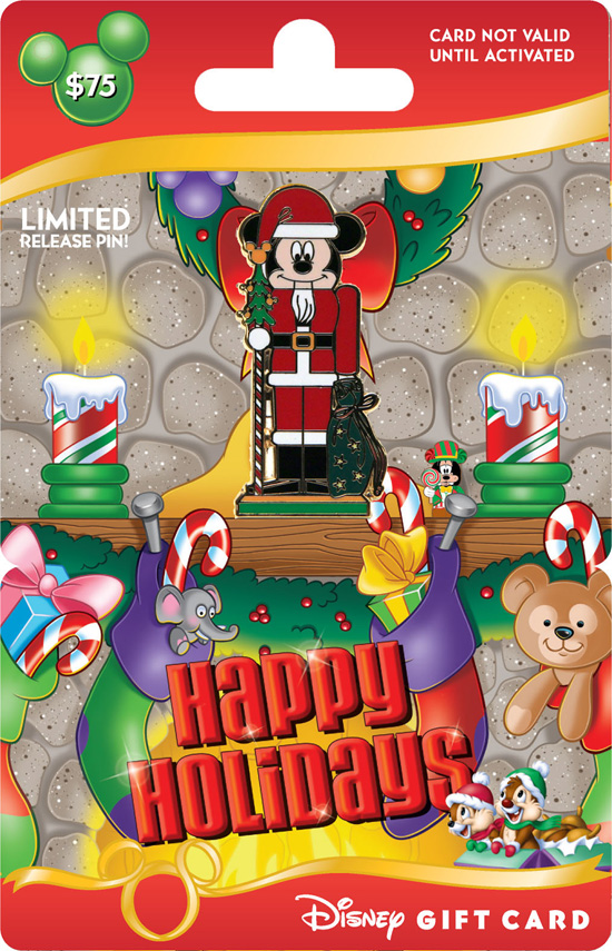 New Holiday Disney Gift Card with Limited-Release Mickey Nutcracker Pin