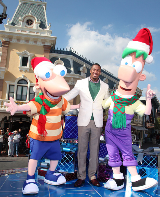 Nick Cannon with Phineas &#038; Ferb at Disneyland Park