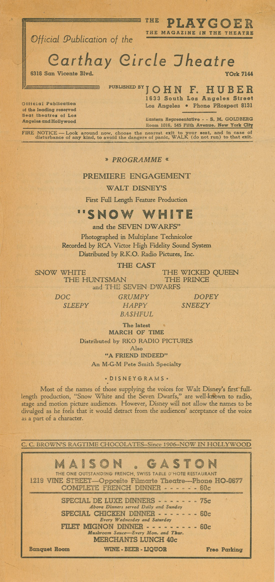 Playbill from Opening Night of Snow White and the Seven Dwarfs at Carthay Circle Theatre