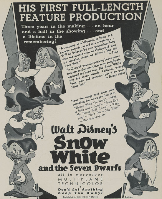 Original Advertisement for the Opening of Snow White and the Seven Dwarfs at Carthay Circle Theatre