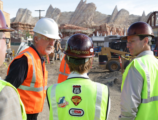 James Cameron (Left) and Tom Staggs (Right) Tour Cars Land with Imagineer Kathy Mangum (Center)