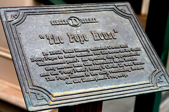 Plaque at the Pope House at Disneyland Resort