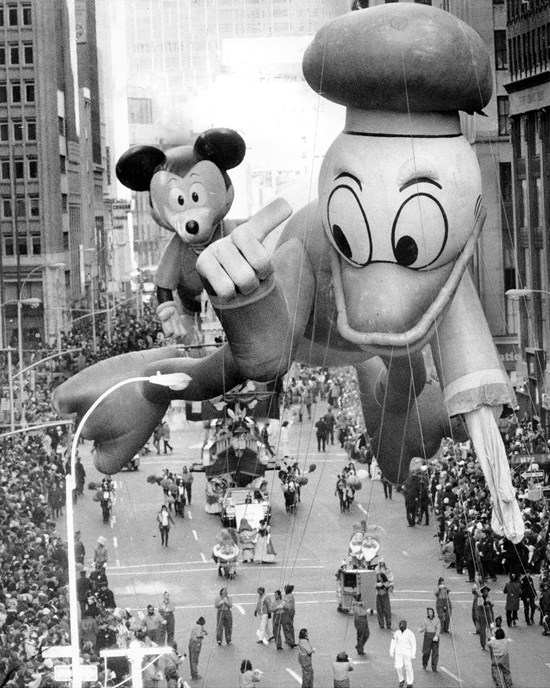 Mickey Mouse and Donald Duck Appear Together in Macy's Thanksgiving Day Parade, 1972 (Courtesy of Getty Images)