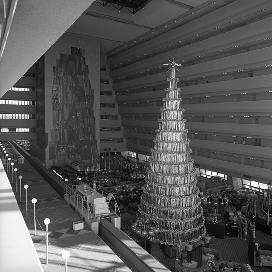 Star Atop the Christmas Tree at Disney's Contemporary Resort in 1971