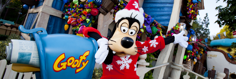 "Goofy says, ""Happy Holidays!"" from Mickey's Toontown at Disneyland Park"