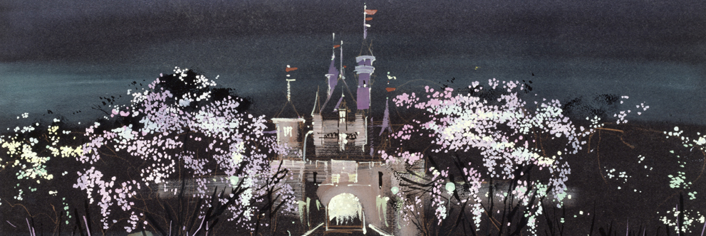 Sleeping Beauty Castle and Tree with Christmas Lights at Disneyland Park, Herb Ryman, 1955
