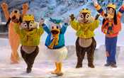 Disney Characters in Mickey's Winter Wonderland Show at Disneyland Paris