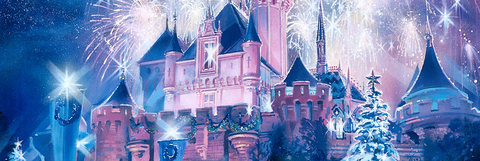 Sleeping Beauty Castle at Christmas at Disneyland Park