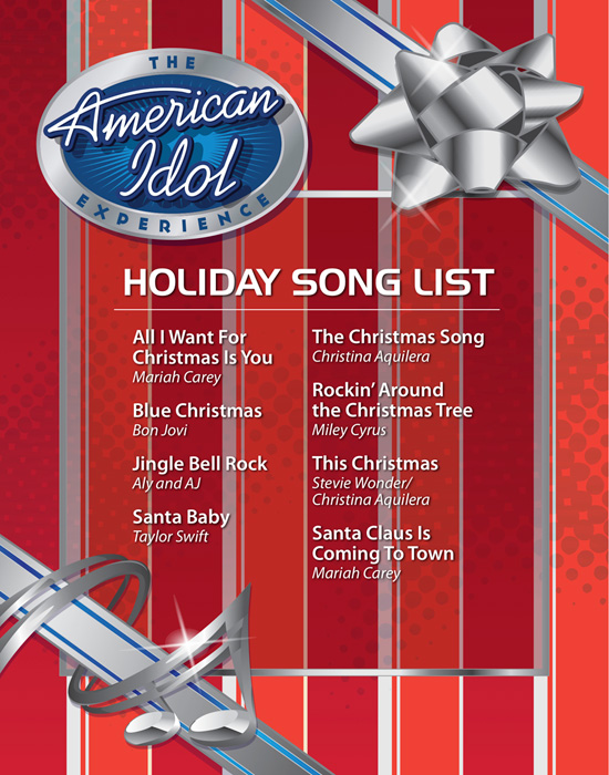List of Holiday Songs for Guests to Choose From at The American Idol Experience at Disney's Hollywood Studios
