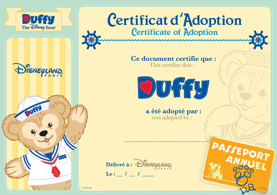 Duffy the Disney Bear Adoption Certificate Completed by Cast Members at Disneyland Resort Paris