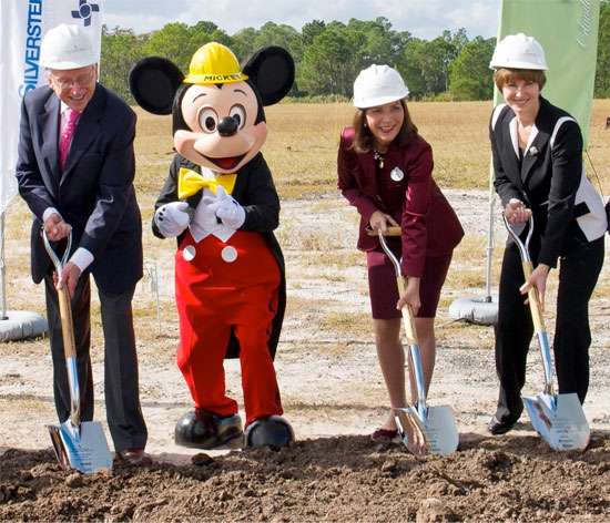 Four Seasons Groundbreaking Ceremony, Which Included Mickey Mouse, Meg Crofton, President of Walt Disney Parks and Resorts Operations, and Joint Venture Partners Silverstein Properties and Dune Real Estate