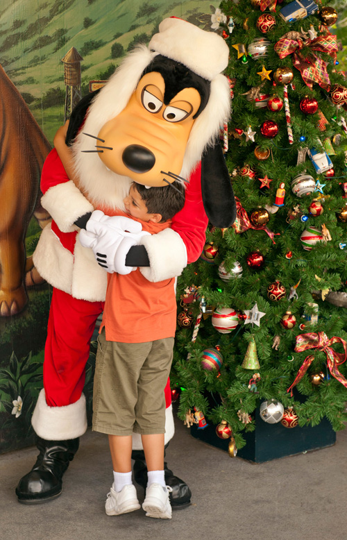 Look for Santa Goofy at Santa's Chalet in the Downtown Disney Marketplace Area at Walt Disney World Resort