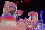 Balou and Mowgli of 'The Jungle Book' Ice Sculptures, Featured in the Interpretation of Disneyland Paris Enchanted Christmas for the 10th International Snow & Ice Sculpture Festival in Bruges, Belgium
